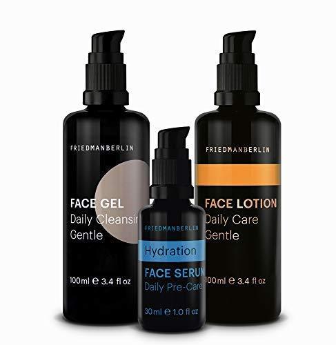 Anti Aging Kit für Männer von FRIEDMANBERLIN | Pflegeset mit Gesichtsreinigung, Feuchtigkeits Serum & Gesichtspflege für straffere Haut | Naturkosmetik 3er Set (100ml, 30ml & 100ml)