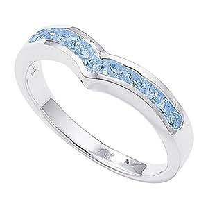 Sterling Silver Channel Set Wishbone Blue Topaz Ring - Size J