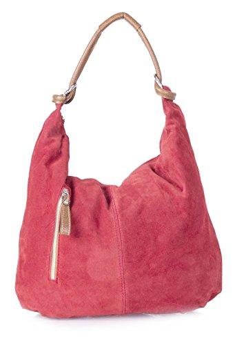 Big Handbag Shop - Borsa a spalla da donna, grande, in vera pelle scamosciata italiana Deep Coral (GU585)