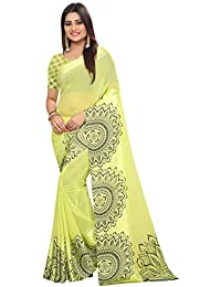 High Glitz Fashion Georgette Saree With Blouse Piece (HGF1313 Green 1_Green_Free Size)