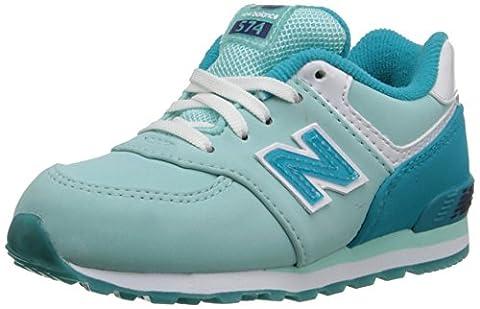 New Balance KL574 Infant Lace Glacial Running Shoe (Infant/Toddler), Blue/Sea Glass, 17 M EU