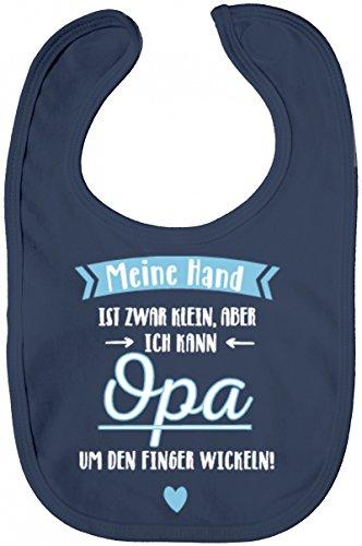 ShirtStreet Süßes Geschenk Lätzchen Baumwolle Baby Bib Jungen Mädchen Junge - Meine Hand ist Zwar Klein, Opa Um Den Finger Wickeln, Größe: OneSize,Nautical Navy -