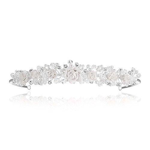 Venus Jewelry Tiara o corona de perla de boda para mujer - Hecha a mano Plateado