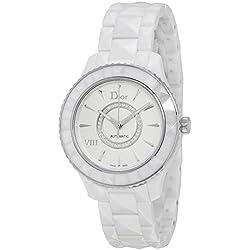 Christian Dior VIII automático de cerámica blanca y de acero inoxidable reloj de pulsera para mujer CD1245E3C002