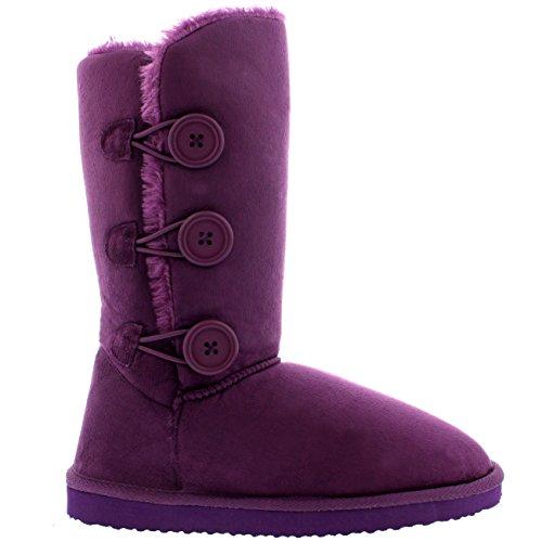 Damen Schuhe Triplet Knopf Fell Schnee Regen Stiefel Winter Fur Boots - Lila - 39 - AEA0192 (Lila Stiefeln)