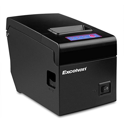 Excelvan E58 - Bluetooth Impresora Térmica de Recibos y Tickets (58mm, Android, iOS, Windows, Linux, 130mm/s, ESC/POS, USB), Negro