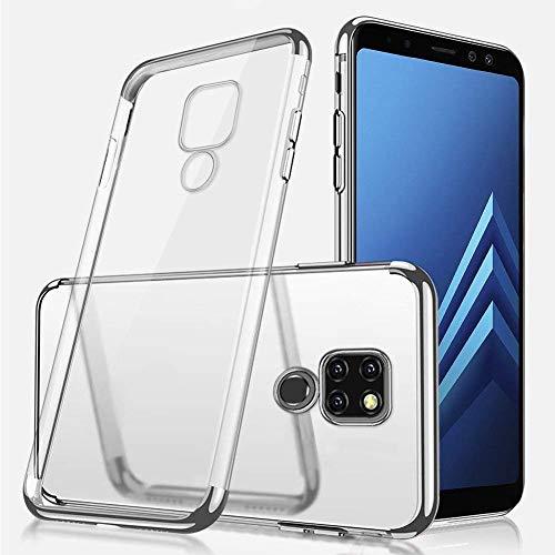 Uposao Huawei Mate 20 Hülle Plating TPU Case mit Überzug Farbig Rahmen Hülle Transparent TPU Silikon Handyhülle Ultra dünn Durchsichtige Schutzhülle,Silber