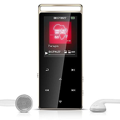 AGPTEK A01 Lecteur MP3 en Métal Sport 8Go Stéréo Excellent Lecteur Baladeur avec boutons tactiles & bouton de verrouillage (Supporte carte SD jusqu'à 128Go, la carte pas inclus), Noir