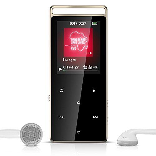 Touch Bedienfeld Metall 8GB MP3 Player, Tragbare Musik Player mit Armband, Diktiergeräte, FM Radio, Lossless Sound MP3 Player, Unterstützt 128GB Micro SD Speicherkarte, von AGPTEK A01, Champagner