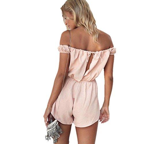 Internet Damen Kleid Ab Schulter Partei Jumpsuit Rosa