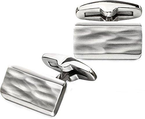 Fred Bennett rectangle Boutons de manchette en acier inoxydable avec finition brossée central Texture et bords biseautés - V532