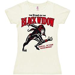 Logoshirt Marvel Comics - Viuda Negra Camiseta para Mujer - Blanco Antiguo - Diseño Original con Licencia, Talla S