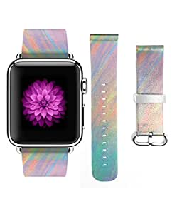 Apple Watch Band 38mm For Girls Genuine Leather Strap Wrist Band Replacement for Apple Watch Light Rainbow Color