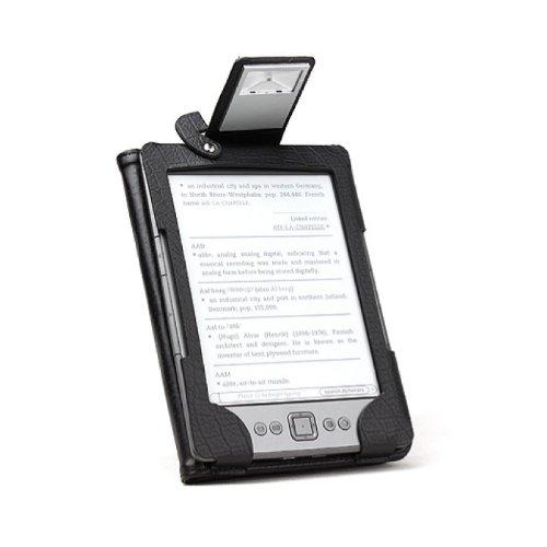 Book Lighter Schutzhülle aus Leder mit LED Licht für Amazon Kindle 4