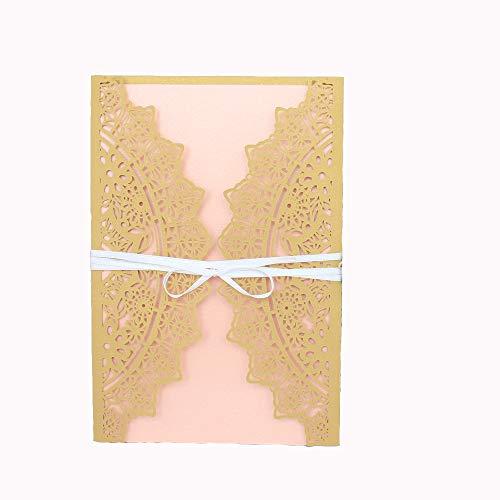 50pcs Exquisite Hochzeit Einladungen Karten Schleife hohl Muster Karten-Kits mit Seide für Hochzeit Bridal Dusche Geburtstag