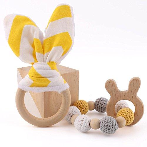 baby tete Zahnen Ringe Häschen Ohr 1set / 2pc Sensorische Baby Gym Spielzeug Kann Chew Zahnen Schmuck Montessori Spielzeug Hölzerne Teether