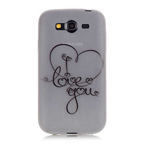 CaseHome Samsung Galaxy Grand Neo Plus (I9060) Luminous Hülle (Mit Frie Displayschutzfolie) Leuchtende Silikone Rückhülle Für iPhone 6 6s Plus 5.5 Zoll Zoll Silikon Etui Handy Hülle Weiche Transparent Ich liebe dich