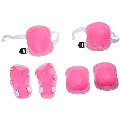 equipement de protection - SODIAL(R)Poignets, coudieres et genouilleres pour enfant Sports Support de protection ecran (Rose)