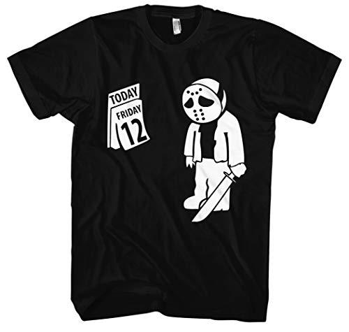Freitag der 12 Männer und Herren T-Shirt | der 13 Halloween Horror Friday Geschenk (XXXL, Schwarz)