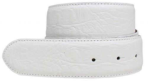 Brazil Lederwaren Gürtel mit Krokoprägung ohne Schließe 4,0 cm Kroko-Prägung Hochwertig 40mm Krokodil-Muster Reptil-Prägung ohne Schnalle Riemen, Bundweite 90, Weiß (Snake Print Schnalle)