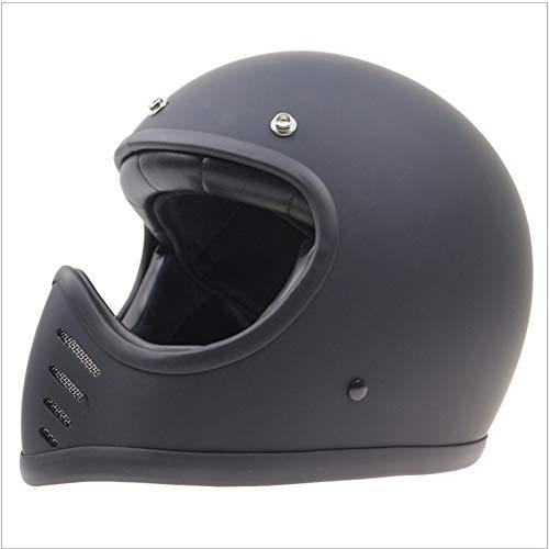 Shfmx Casco de la Cara Completa de la Motocicleta Adulta, Dot Certificado Retro Full Face Cruiser 3/4 Harley Casco/Unisex (M, L, XL, XXL),XL