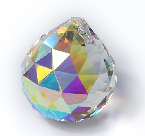 Kristall Glas Kugel 40mm mit Aurore Boreal (AB) Effekt Regenbogenfarben 30% PbO Bleikristall Feng Shui Sonnenfänger