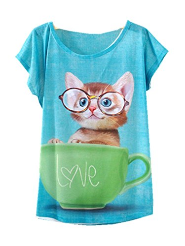 YICHUN Damen T-Shirt Mehrfarbig mehrfarbig One size Joli Chat 15#