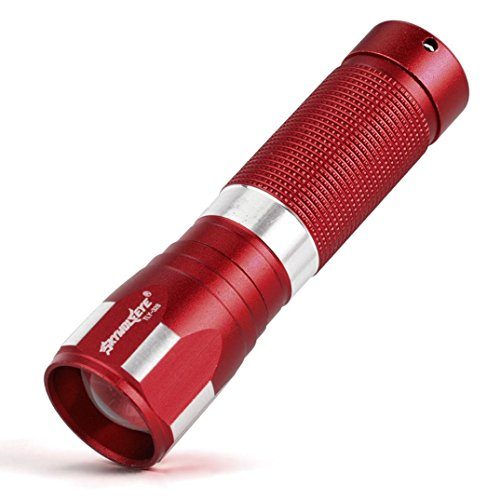 rolan 1 Modus Zoombar Taktisch LED Taschenlampe Fackel zum Draussen Endkappe drücken Blinkfunktion für Campen, Wandern, Fahrradfahren und Notfälle (Rot) (Serviette Drucken)