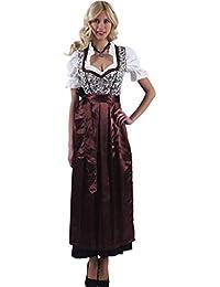 Alpenmärchen 3tlg. Dirndl-Set lang - Trachtenkleid, Bluse, Schürze, Gr. 34-60, braun - ALM746