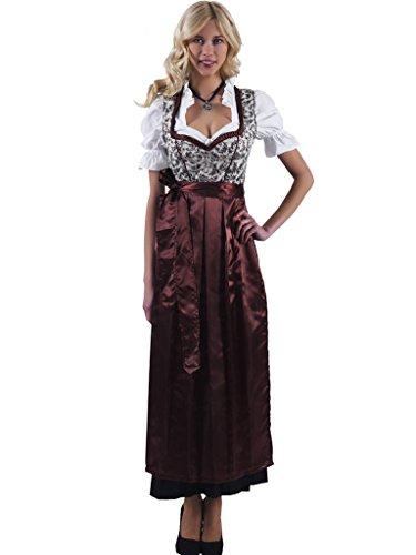 Alpenmärchen 3tlg. Dirndl-Set - Trachtenkleid, Bluse, Schürze, Gr. 52, braun - ALM746