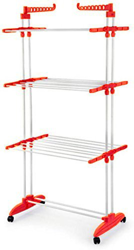 GTC 2 Poll Jumbo 3 Layer Clothes Hanger Rack , Cloth drying stand (Orange)