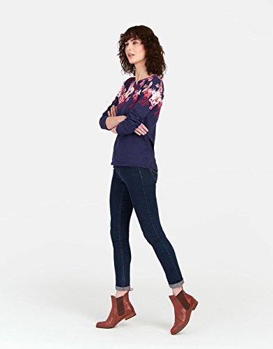 Joules Z Harbourprint Ladies Top-Navy Bircham Border Design