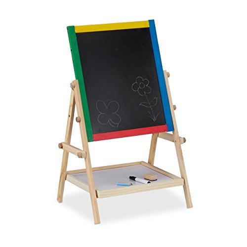 Relaxdays Spieltafel für Kinder, Kindertafel m. Kreide u. Marker, magnetische Standtafel HxBxT: 64 x 40 x 32 cm, bunt