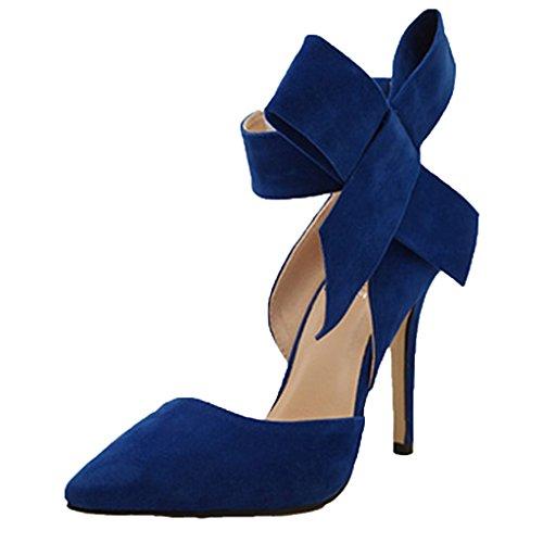 Sommer High Heels Schuhe Stilettos Pointed Toe Pumps Brautschuhe Party Abendschuhe mit Schleife für Damen,Blau 36