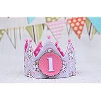 Corona princesa de tela rosa para cumpleaños niña decoración de fiesta infantil adorno de pelo para niñas