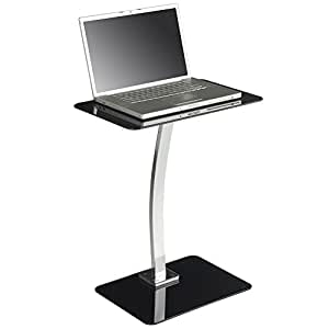 VonHaus Side Table Stand for Laptops Floor Standing Black Glass for Living Room or Bedroom