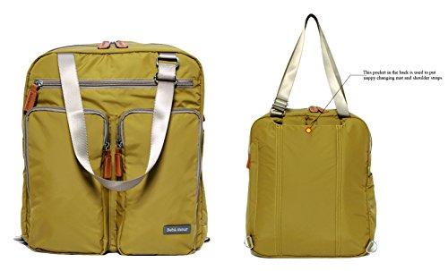 Bebamour Windel-Umhängetasche Reise-Rucksack mit wechselnder Matte Großer Kapazitäts-Baby-Tasche (Dunkelgelb) Dunkelgelb