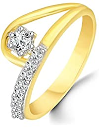 Classic Semi Curl Solitaire Diamond Studded Gold Plated Alloy Cz American Diamond Finger Ring For Women & Girls...