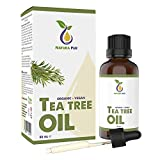 Natura Pur Bio Teebaumöl 50ml - 100% naturreines ätherisches Öl aus Australien, vegan - zur Anwendung auf unreiner Haut, Hautentzündungen, Anti Pickel, Akne sowie Warzen und Pilzen - Diffuser Öl