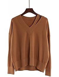 c5320e88b984d6 OME&QIUMEI Lose Pullover V-Kragen Lose Pullover Frauen Tragen Loch Dünn