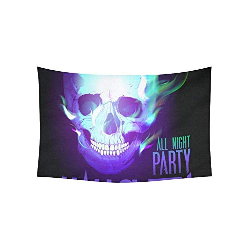 gthytjhv Tapisserie Tapestry Halloween Party Design with Skull in Flames Raste Tapestries Wall Hanging Flower Psychedelic Tapestry Wall Hanging Indian Dorm Decor for Living Room Bedroom 80 X 60 Inch (Für Die Gebet Halloween-party)