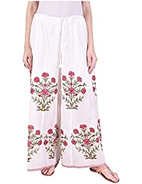 Pink Lemon Red Bouquet Printed Off white Pallazo Pants