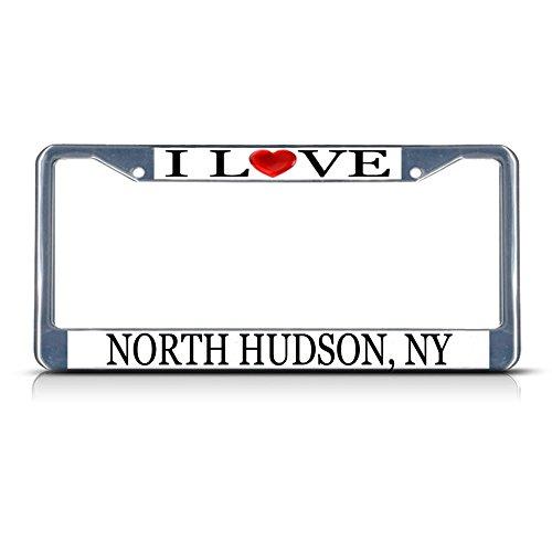 I love Herz North Hudson, NY Metall Chrom Nummernschild Rahmen Tag Bordüre
