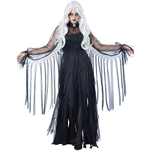 Frauen Schwarze Witwe Kostüm - GLXQIJ Das Geisterstadt-Schwarze Witwe-Vampirs-Schläger-Kostüm Der Erwachsenen Frauen, Halloween-Cosplay-Abendkleid, Kleid U. Kragen,Black,S