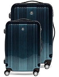 """FERGÉ Conjunto de dos maletas CANNES - ABS & PC azul - 2 trolleys funda rígida - 2 sizes - equipaje dos piezas de 20 """"y equipaje 28"""" con 4 ruedas (360) para (51 x 77 x 30 cm)"""