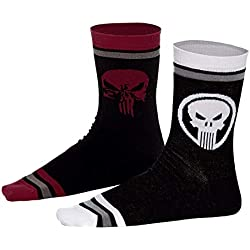 PUNISHER Conjunto de 2 calcetines logotipo de calavera Marvel