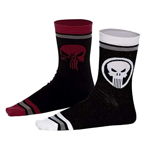 Punisher Socken 2er Set Skull Logo Marvel Elbenwald schwarz - 43-46