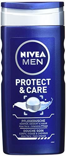 NIVEA Men Duschgel für Körper, Gesicht & Haar, 250 ml Flasche, Protect & Care