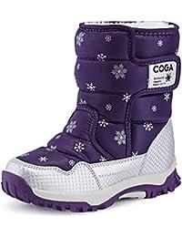 Botas de Nieve para niños Moda cómoda impresión Impermeable Antideslizante Inferior Plana Botas Calientes niños y niñas Zapatos Casuales Botas para Caminar