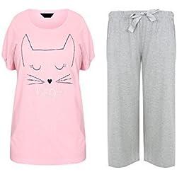 Vacaciones suitcase-señora TALLA GRANDE 18-32 GB Pijama Rosa Gris gatito cat - gatito, 46